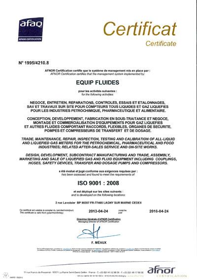 Equip fluides equipements pour gaz liqu fi s et fluides - Certificat de conformite gaz ...